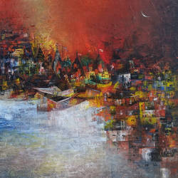 banaras ghat, 24 x 24 inch, m. singh,paintings,abstract paintings,cityscape paintings,canvas,acrylic color,24x24inch,GAL0537712704