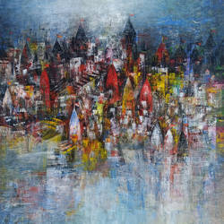 banaras ghat house of god , 24 x 24 inch, m. singh,cityscape paintings,canvas,acrylic color,24x24inch,GAL0537712705