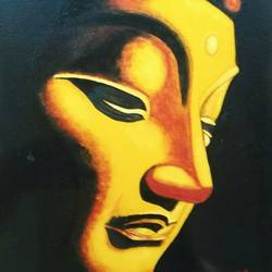 preaching serenity, 24 x 30 inch, j.k  chhatwal,buddha paintings,figurative paintings,paintings for living room,paintings for living room,canvas,oil,24x30inch,religious,peace,meditation,meditating,gautam,goutam,orange,face,GAL0537812707,peace,lordbuddha,inner,lordface,