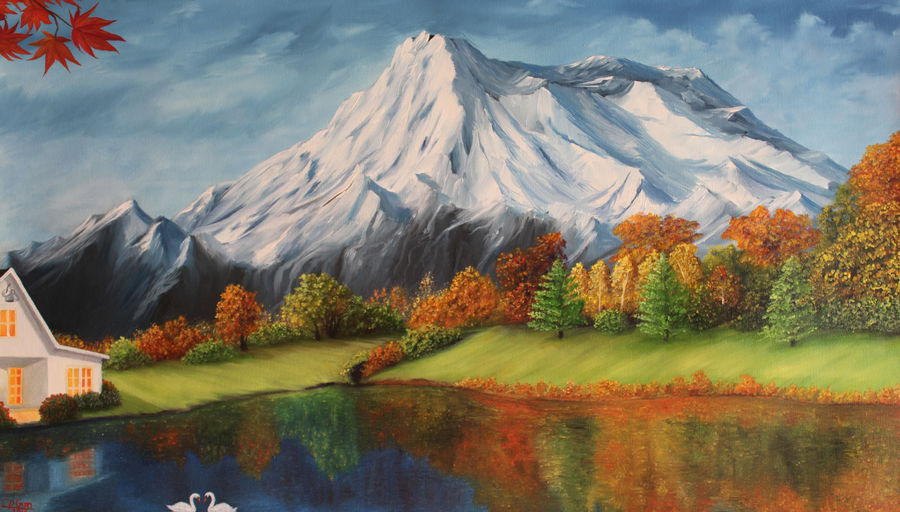 peace in mountain, 32 x 18 inch, goutami mishra,landscape paintings,paintings for living room,paintings,canvas,oil,32x18inch,GAL04651271