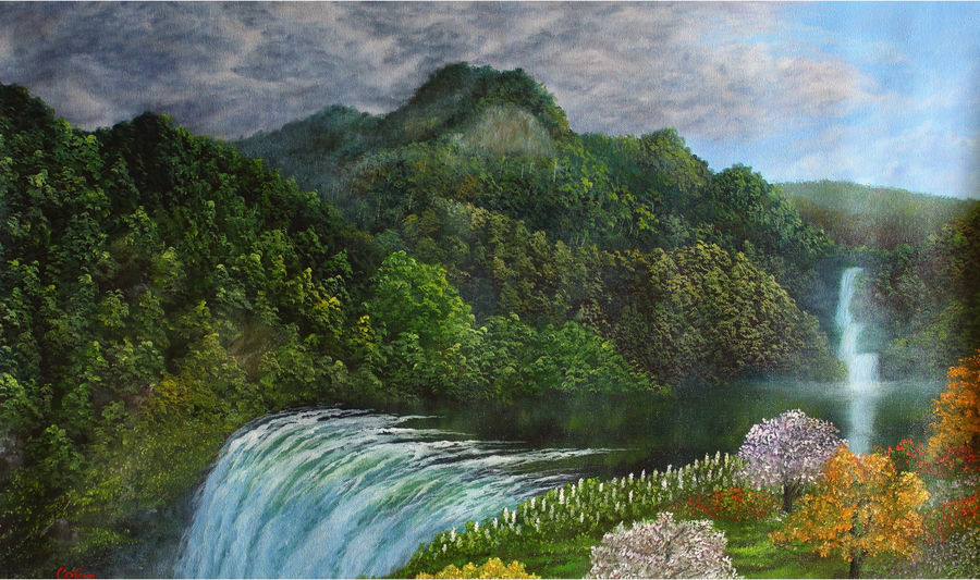 mountain range waterfall, 30 x 18 inch, goutami mishra,landscape paintings,paintings for living room,paintings,canvas,oil,30x18inch,GAL04651272