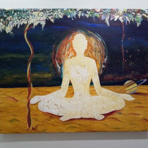 power of yoga, 33 x 28 inch, pralhad thak,paintings,conceptual paintings,paintings for living room,paintings for hotel,paintings for living room,paintings for hotel,canvas,acrylic color,33x28inch,GAL0538312722
