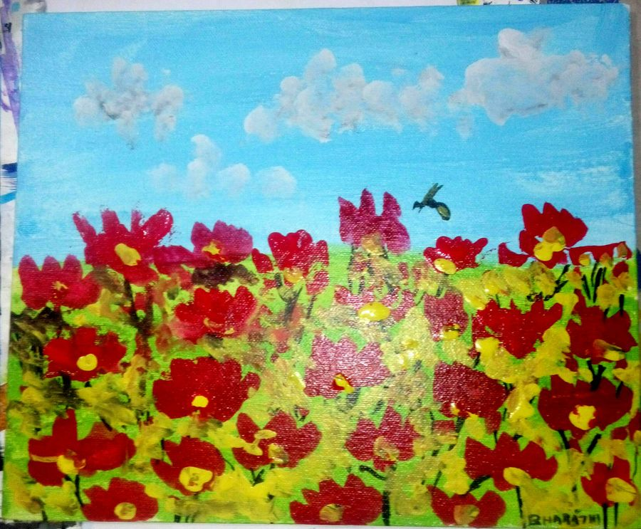 flowers, 10 x 12 inch, bharathi k sethu nagarajan,paintings,nature paintings,paintings for living room,paintings for living room,canvas,acrylic color,10x12inch,GAL0538512724Nature,environment,Beauty,scenery,greenery