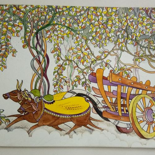 competition in unity, 44 x 28 inch, pralhad thak,paintings,nature paintings,paintings for living room,paintings for office,paintings for hotel,canvas,acrylic color,44x28inch,GAL0538312727Nature,environment,Beauty,scenery,greenery,bull,cart,bullock cart,leaves