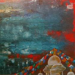 the lake of mind, 36 x 18 inch, nishant mishra,abstract paintings,buddha paintings,conceptual paintings,abstract expressionist paintings,paintings for dining room,paintings for living room,paintings for bedroom,paintings for office,paintings for hotel,canvas,acrylic color,36x18inch,GAL0538612729