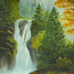 waterfall in forest, 18 x 12 inch, goutami mishra,landscape paintings,paintings for living room,canvas,oil,18x12inch,GAL04651273