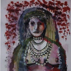 tribe woman, 16 x 11 inch, kalpana  tambe,nature paintings,paintings for bedroom,drawing paper,acrylic color,16x11inch,GAL0247412733Nature,environment,Beauty,scenery,greenery