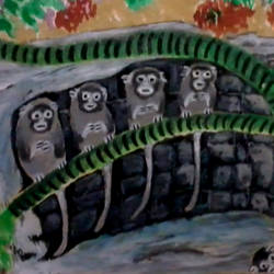 five monkeys, 16 x 11 inch, kalpana  tambe,paintings,animal paintings,paintings for kids room,drawing paper,acrylic color,16x11inch,GAL0247412734