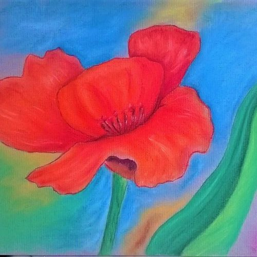poppy in full bloom, 8 x 12 inch, anusua  paul,drawings,paintings for living room,paintings for bedroom,impressionist drawings,paintings for living room,paintings for bedroom,drawing paper,pastel color,8x12inch,GAL0539012735