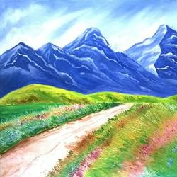 snowy mountains, 20 x 15 inch, anusua  paul,paintings,landscape paintings,paintings for living room,paintings for bedroom,canvas board,oil,oil paint,20x15inch,GAL0539012737
