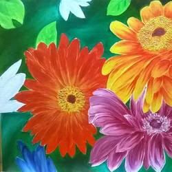 happy flowers, 20 x 15 inch, anusua  paul,paintings,flower paintings,paintings for living room,paintings for office,paintings for hotel,paintings for living room,paintings for office,paintings for hotel,canvas board,oil,oil paint,20x15inch,GAL0539012738