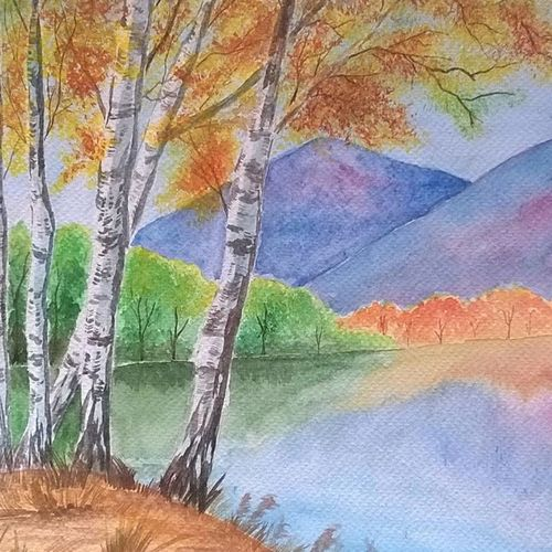 lake front, 10 x 12 inch, anusua  paul,paintings,landscape paintings,paintings for living room,paintings for bedroom,brustro watercolor paper,watercolor,10x12inch,GAL0539012739