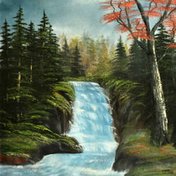 waterfall in forest series 2, 20 x 16 inch, goutami mishra,landscape paintings,paintings for living room,canvas,oil,20x16inch,GAL04651274