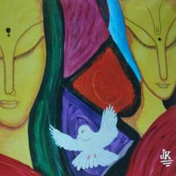 unveiling infinity, 36 x 24 inch, j.k  chhatwal,figurative paintings,paintings for dining room,paintings for living room,paintings for bedroom,canvas,acrylic color,36x24inch,GAL0537812741