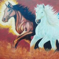 galloping through time, 36 x 24 inch, j.k  chhatwal,animal paintings,horse paintings,canvas,oil,36x24inch,GAL0537812746