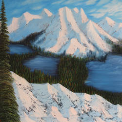 snow loaded mountain range, 36 x 24 inch, goutami mishra,landscape paintings,paintings for living room,canvas,oil,36x24inch,GAL04651275