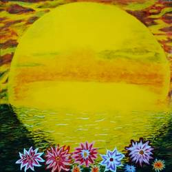 nature in bloom , 24 x 24 inch, j.k  chhatwal,flower paintings,nature paintings,canvas,acrylic color,24x24inch,GAL0537812751Nature,environment,Beauty,scenery,greenery