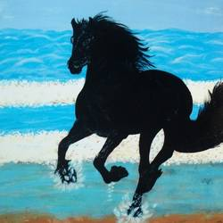 splash of blues, 24 x 36 inch, j.k  chhatwal,animal paintings,horse paintings,canvas,acrylic color,24x36inch,GAL0537812753