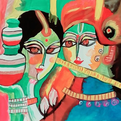 radha krishna, 16 x 13 inch, roshni patel,paintings for dining room,paintings for living room,figurative drawings,portrait drawings,radha krishna drawings,paintings for dining room,paintings for living room,thick paper,acrylic color,16x13inch,GAL0539812756