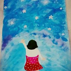 stars within reach, 12 x 8 inch, roshni patel,drawings,paintings for bathroom,paintings for kids room,impressionist drawings,kids drawings,paintings for bathroom,paintings for kids room,thick paper,acrylic color,12x8inch,GAL0539812760