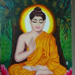 nirvana, 24 x 36 inch, j.k  chhatwal,buddha paintings,canvas,acrylic color,24x36inch,religious,peace,meditation,meditating,gautam,goutam,orange,tree,blessing,GAL0537812762