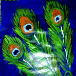 peacock blue green, 12 x 14 inch, bharathi k sethu nagarajan,paintings,abstract paintings,paintings for living room,paintings for living room,paper,acrylic color,12x14inch,GAL0538512767
