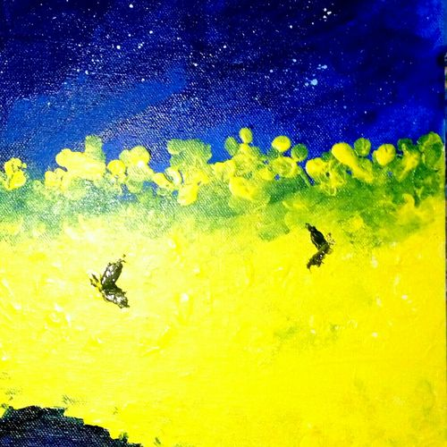 blue yellow, 12 x 12 inch, bharathi k sethu nagarajan,paintings,nature paintings,paintings for living room,paintings for living room,canvas,acrylic color,12x12inch,GAL0538512770Nature,environment,Beauty,scenery,greenery