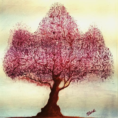 family tree, 16 x 11 inch, trishanth naidu,modern art paintings,paintings for living room,thick paper,acrylic color,16x11inch,GAL05111279