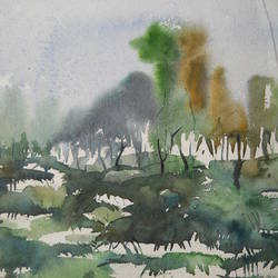 shadows of a monsoon morning , 12 x 18 inch, arindam lahiri,paintings,nature paintings,paintings for bedroom,paintings for hotel,paintings for kitchen,thick paper,watercolor,12x18inch,GAL0542812793Nature,environment,Beauty,scenery,greenery