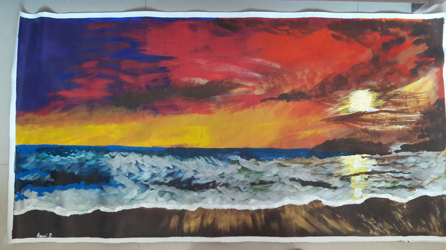 sunset at sea, 48 x 25 inch, gauri diwadkar,paintings,nature paintings,paintings for dining room,paintings for living room,paintings for bedroom,paintings for office,paintings for hotel,canvas,acrylic color,48x25inch,GAL0543212798Nature,environment,Beauty,scenery,greenery