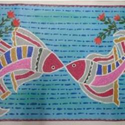 embossed underwater, 28 x 17 inch, gauri diwadkar,paintings,conceptual paintings,paintings for kids room,canvas,acrylic color,28x17inch,GAL0543212799