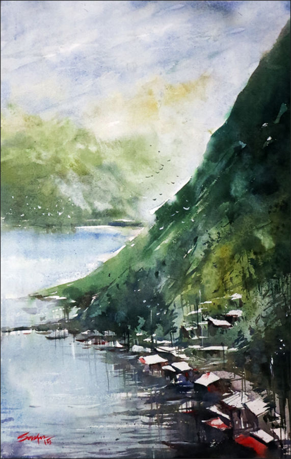 skyfall, 21 x 14 inch, sankar thakur,nature paintings,paintings for living room,fabriano sheet,watercolor,21x14inch,GAL07128Nature,environment,Beauty,scenery,greenery