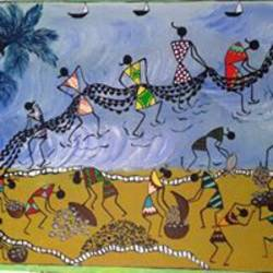warli painting fishing , 16 x 18 inch, gauri diwadkar,folk art paintings,paintings for dining room,paintings for living room,paintings for bedroom,paintings for bathroom,paintings for kids room,warli paintings,canvas board,acrylic color,16x18inch,GAL0543212800
