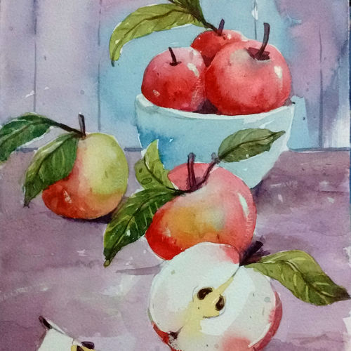 red appples, 8 x 11 inch, tapon roy,paintings,still life paintings,paintings for dining room,paintings for living room,paintings for bedroom,paintings for office,paintings for hotel,paintings for kitchen,handmade paper,watercolor,8x11inch,GAL0528312806
