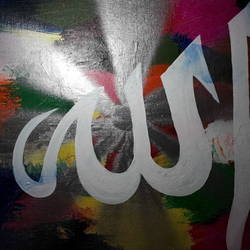 allah(fine acrylic  with touch of silver spray), 20 x 16 inch, eram saba,paintings,religious paintings,canvas,acrylic color,20x16inch,GAL0543912808