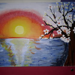 sunset near sea framed by white flower tree, 25 x 15 inch, eram saba,paintings,nature paintings,paintings for dining room,paintings for living room,paintings for bedroom,paintings for office,paintings for hotel,canvas,acrylic color,25x15inch,GAL0543912810Nature,environment,Beauty,scenery,greenery