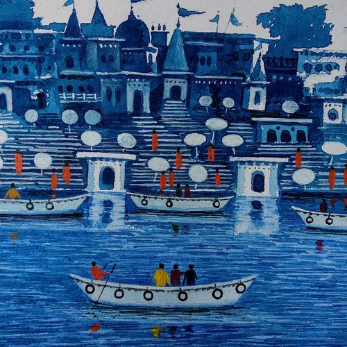 the holy river ganga, 14 x 11 inch, girish chandra vidyaratna,paintings,landscape paintings,paintings for dining room,paintings for living room,paintings for bedroom,paintings for office,paintings for hotel,paintings for kitchen,paper,watercolor,14x11inch,GAL03612817