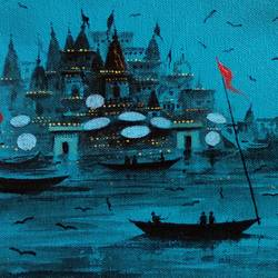 varanasi ghat 2017, 11 x 7 inch, girish chandra vidyaratna,paintings,landscape paintings,paintings for dining room,paintings for living room,paintings for bedroom,paintings for office,paintings for hotel,canvas,acrylic color,11x7inch,GAL03612819