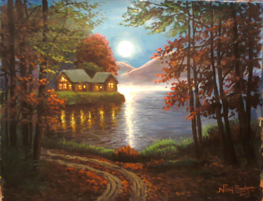 moonlight lake, 9 x 12 inch, niraj pradhan,landscape paintings,paintings for living room,thick paper,acrylic color,9x12inch,GAL04921282