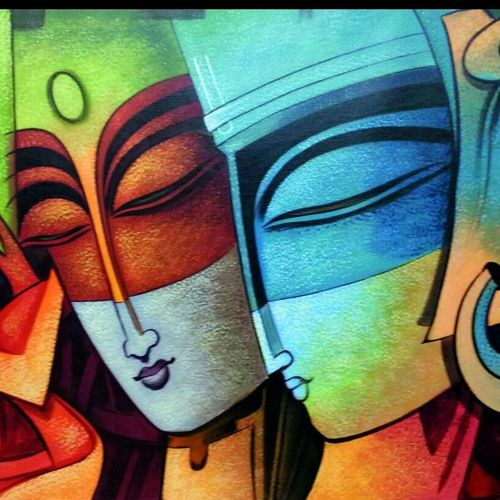 krishna radha in deep love , 35 x 24 inch, shalini mehta,figurative paintings,modern art paintings,conceptual paintings,abstract expressionist paintings,expressionist paintings,portraiture,radha krishna paintings,paintings for dining room,paintings for living room,paintings for bedroom,paintings for office,paintings for kids room,paintings for hotel,paintings for kitchen,canvas,acrylic color,35x24inch,GAL0542512821,radhakrishna,love,lordkrishna,lord,couple,peace,radha