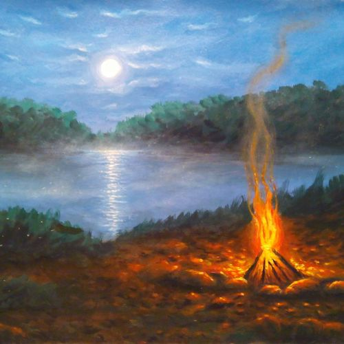 campfire by moonlight , 9 x 12 inch, niraj pradhan,landscape paintings,paintings for living room,thick paper,acrylic color,9x12inch,GAL04921283