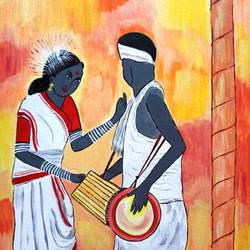 tribal women , 16 x 20 inch, shuchita srivastava,paintings,expressionist paintings,paintings for living room,canvas,acrylic color,16x20inch,GAL0398412839