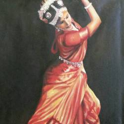 classical dance, 16 x 25 inch, sheetal vinay singh,figurative paintings,paintings for living room,renaissance watercolor paper,oil,16x25inch,GAL05251284