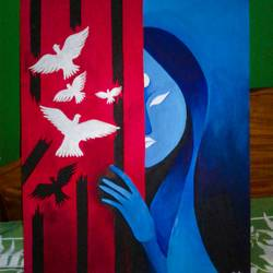 womens freedom, 15 x 25 inch, rupam  das,paintings for living room,paintings for living room,abstract paintings,figurative paintings,hardboard,acrylic color,15x25inch,GAL0545312847