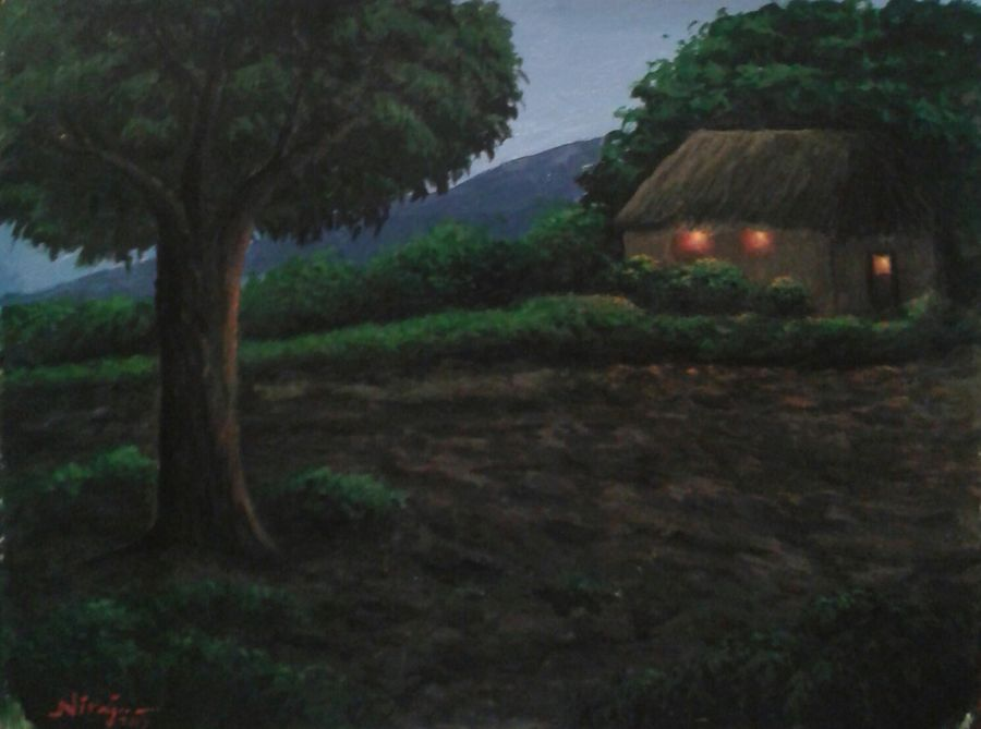 silent village, 9 x 12 inch, niraj pradhan,nature paintings,paintings for living room,thick paper,acrylic color,9x12inch,GAL04921285Nature,environment,Beauty,scenery,greenery