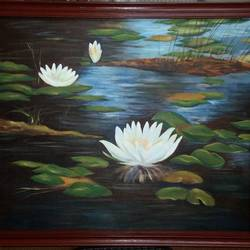 pond, 25 x 21 inch, pronati halder,paintings,nature paintings,canvas,acrylic color,25x21inch,GAL0375712851Nature,environment,Beauty,scenery,greenery