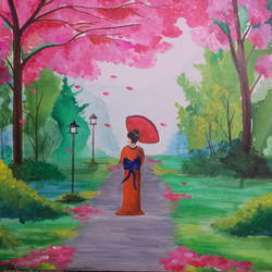 girl in sakura garden, 20 x 30 inch, malvika paliwal,nature paintings,contemporary paintings,paintings for dining room,paintings for living room,paintings for bedroom,paintings for office,paintings for hotel,paintings for dining room,paintings for living room,paintings for bedroom,paintings for office,paintings for hotel,canvas,acrylic color,20x30inch,GAL0543412862Nature,environment,Beauty,scenery,greenery