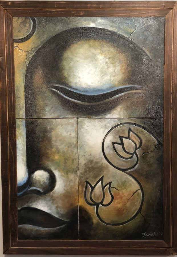 the unsullied, 24 x 36 inch, tavishi kanoria,paintings,abstract paintings,buddha paintings,figurative paintings,multi piece paintings,religious paintings,surrealist paintings,paintings for dining room,paintings for living room,paintings for bedroom,paintings for office,paintings for hotel,canvas,acrylic color,24x36inch,religious,peace,meditation,meditating,gautam,goutam,buddha,lord,brown,side face,GAL0139612869