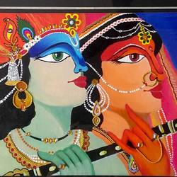krishna and radha, 16 x 12 inch, aishwarya  jv,islamic calligraphy paintings,paintings for dining room,paintings for living room,canvas board,acrylic color,fabric,16x12inch,GAL0546912870