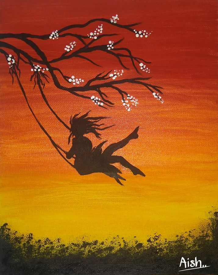 silhouette swing girl, 6 x 8 inch, aishwarya  jv,paintings,landscape paintings,nature paintings,paintings for living room,paintings for kids room,canvas board,acrylic color,fabric,6x8inch,GAL0546912871Nature,environment,Beauty,scenery,greenery